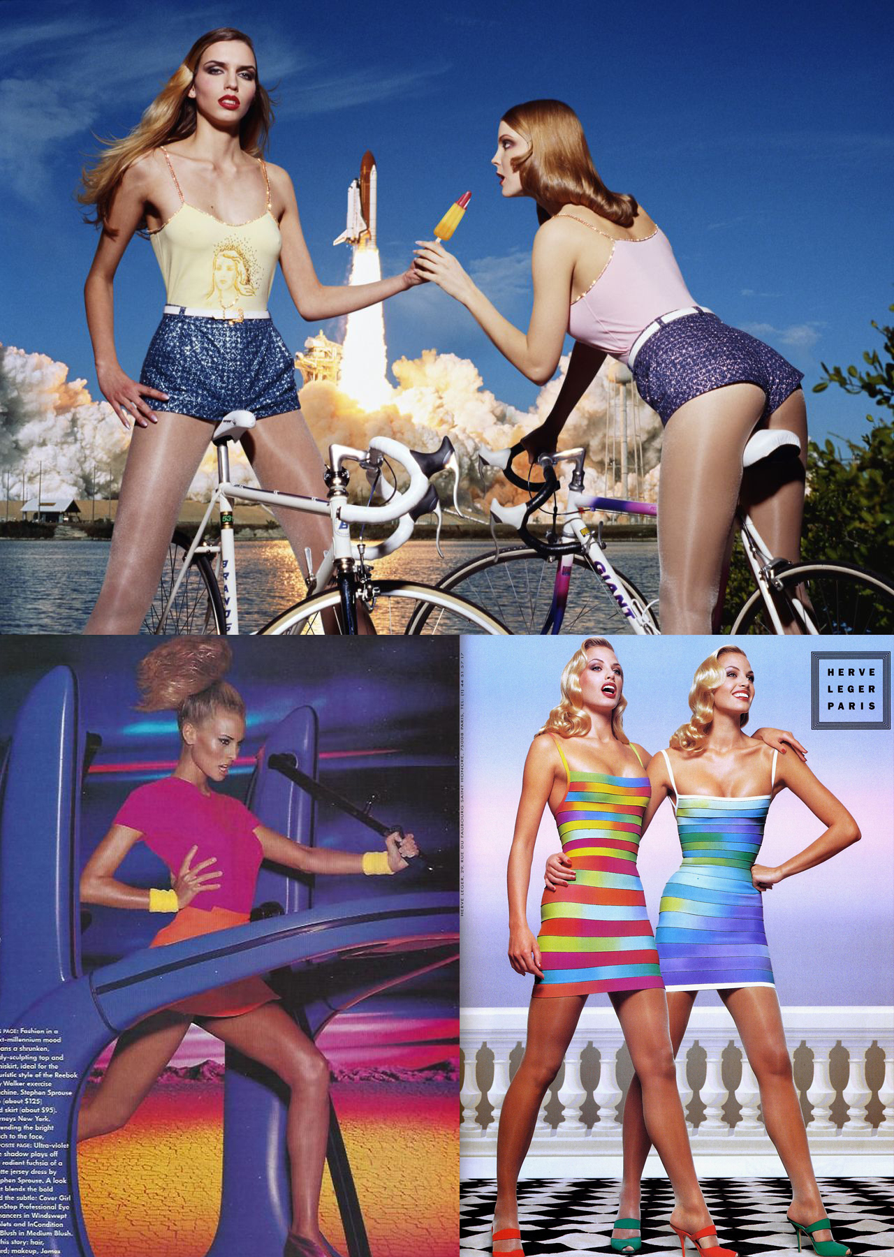 Collage of images: Top image - Two women on bikes with rocket launch in background, Left Bottom - Woman exercising with stylized mountain background, Right Bottom - Two women in striped dresses