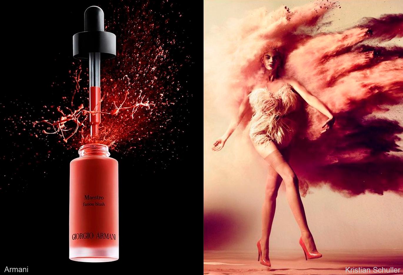 Left Image: Liquid blush caught mid-splash exiting its bottle, Right Image: Woman with cloud of pink dust-like cloud caught mid-motion