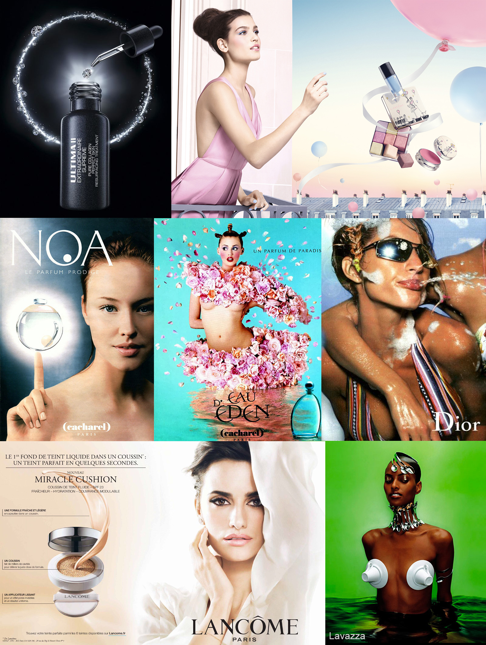 Collage of Images: Some with makeup product stylized, others with models with photoshopped clothing and/or backgrounds